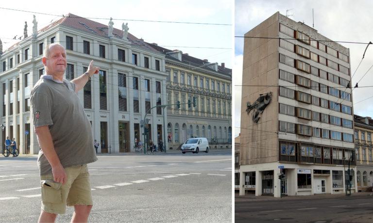Oliver Bertko am Ort des ehemaligen Haus des Reisens in der Friedrich-Ebert Straße.