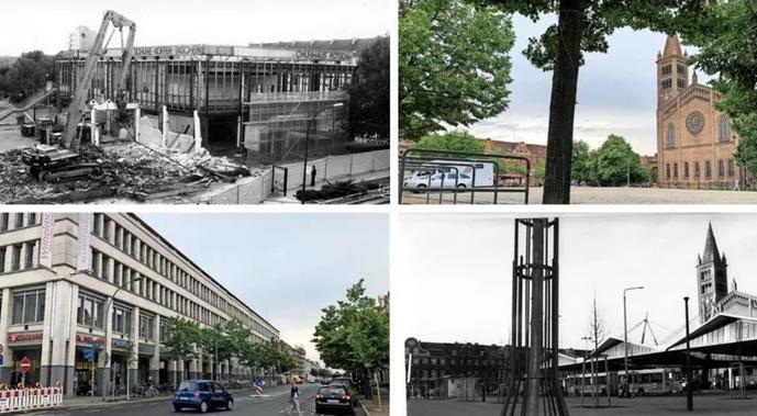 Vorher-Nachher: Blick auf Wilhelmgalerie und Bassinplatz.